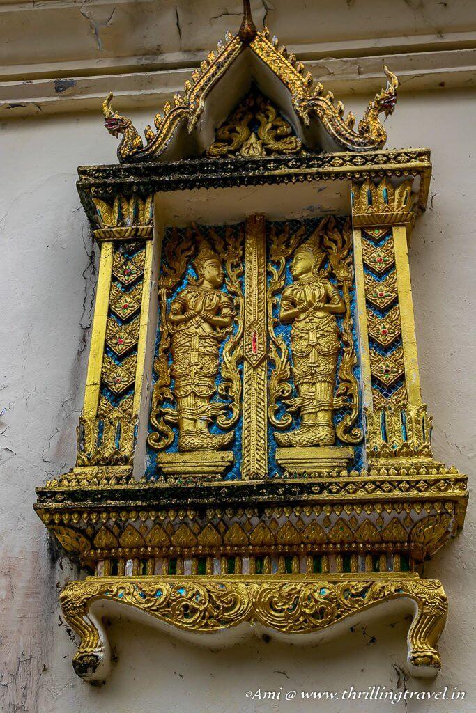 Artistic windows of the temple at Doi Suthep