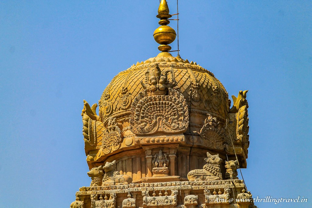 The 80 ton granite capstone atop the 60 m high vimana at Brihadeeswarar Temple