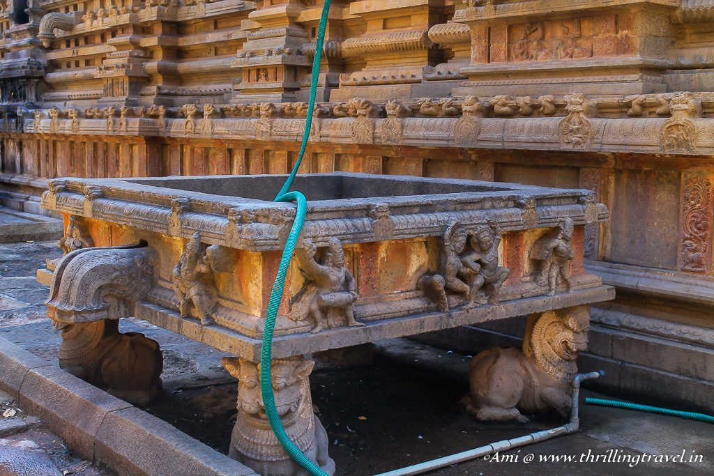Carved reservoir at Tanjore Temple