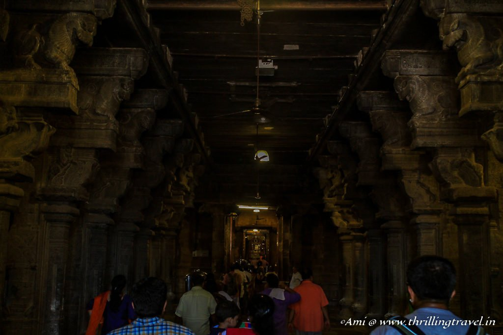 Inside Brihadeeswarar Temple as seen from the entrance