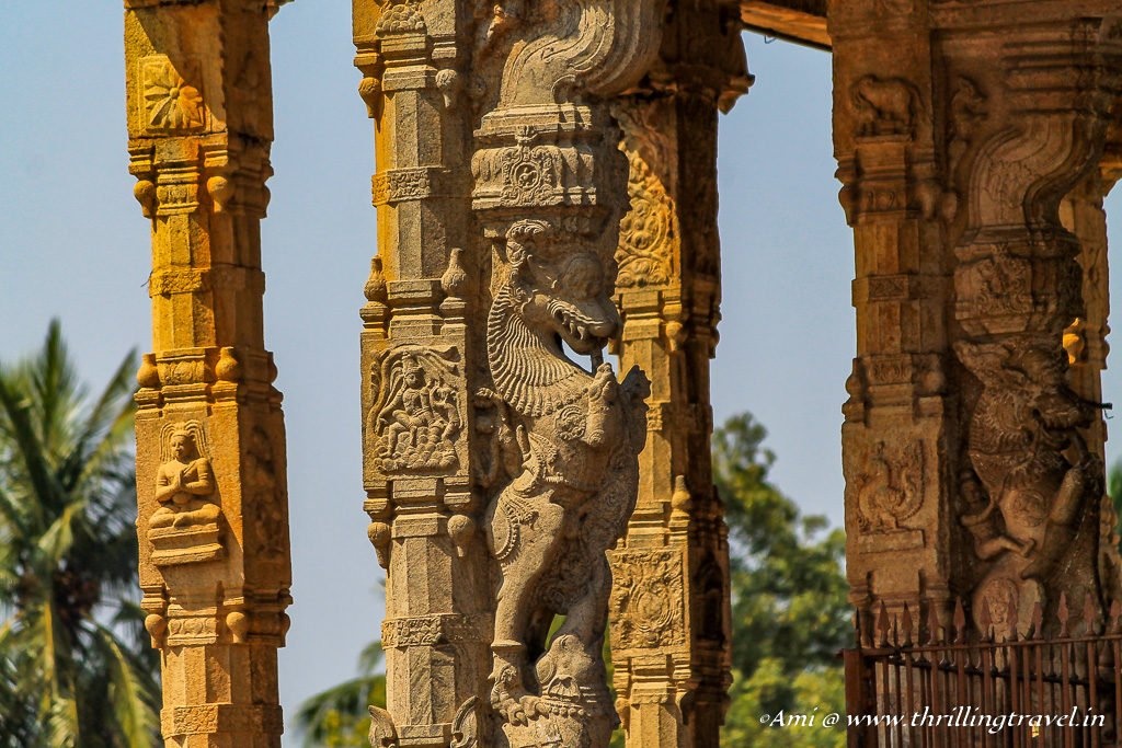 Pillars of Nandi Mandapa at Brihadeeswarar Temple