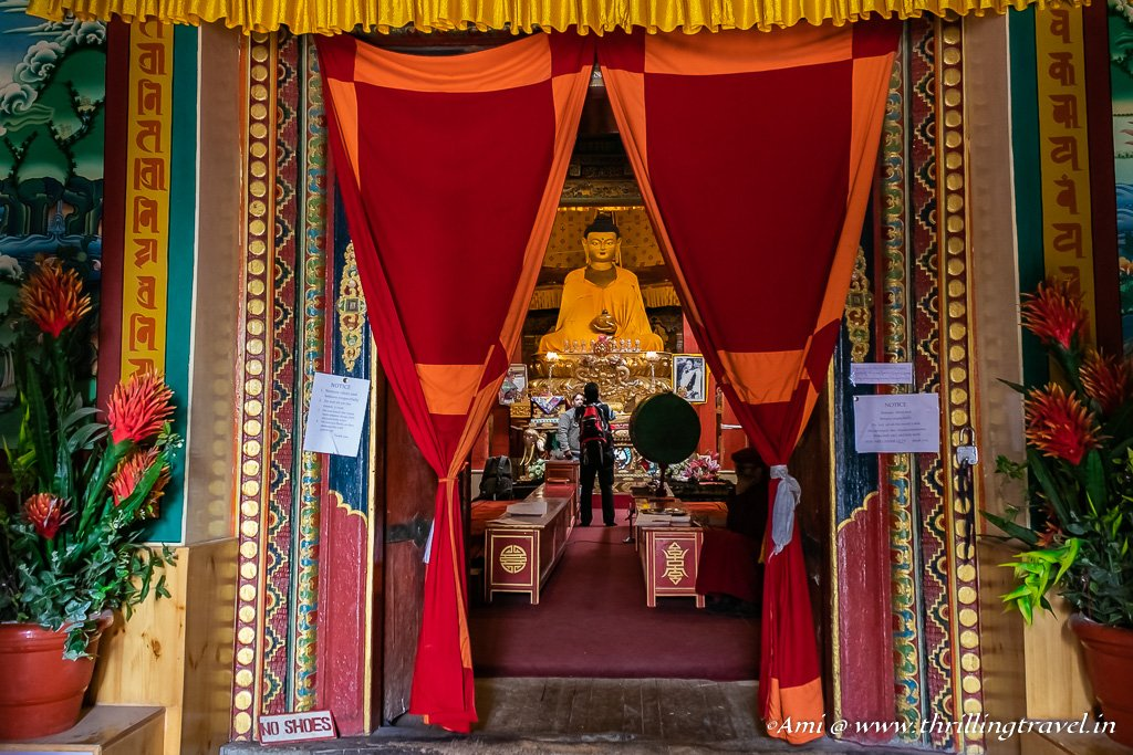 The Golden Buddha as seen from the entrance of the 2nd Assembly hall of Hemis Gompa
