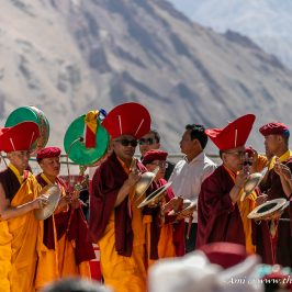Musicians accompanying the relics as they go around the Naro Photang