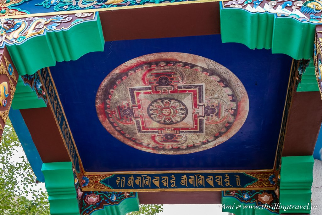 Painted ceiling at the entrance of Hemis Gompa