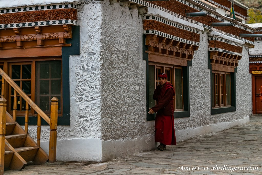 Outside the Hemis Museum as it started snowing