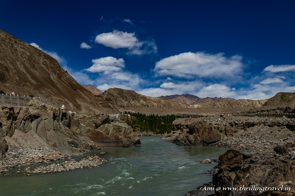 Indus river flowing towards Alchi in Monastery