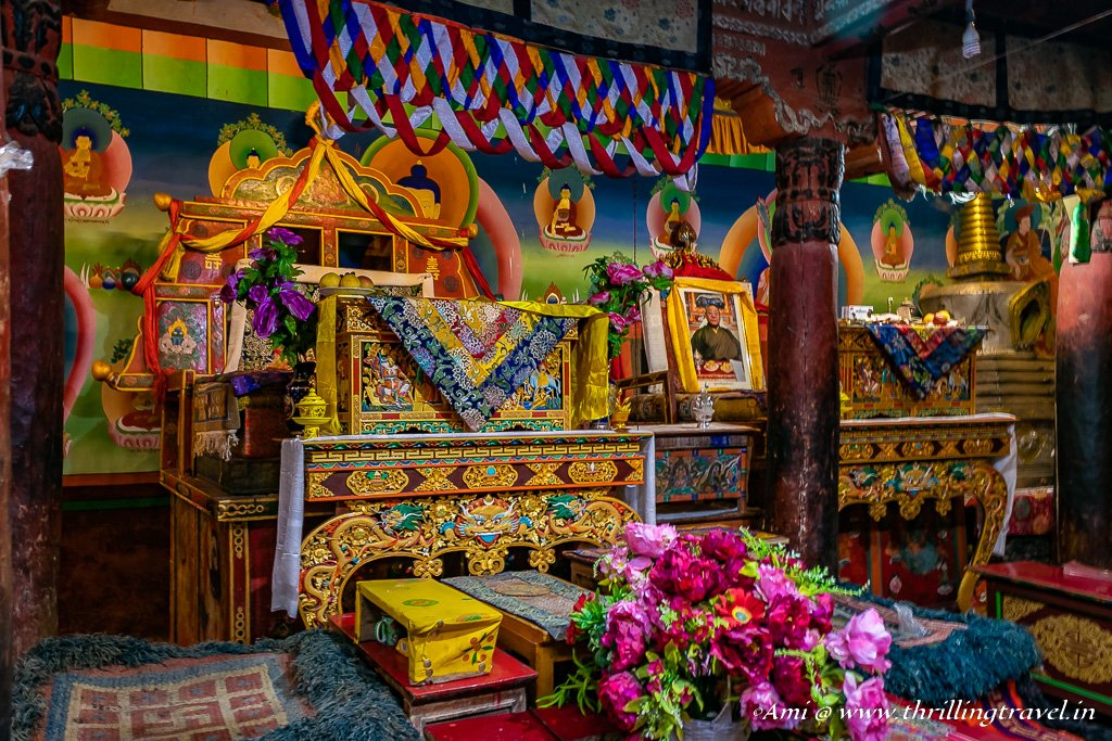 The seating for the head monk in Hemis Monastery