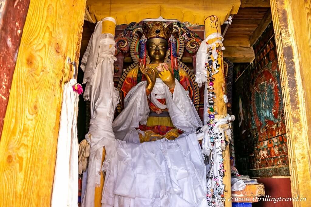 Maitreya Buddha in Chamchung Temple at Basgo Monastery, Ladakh