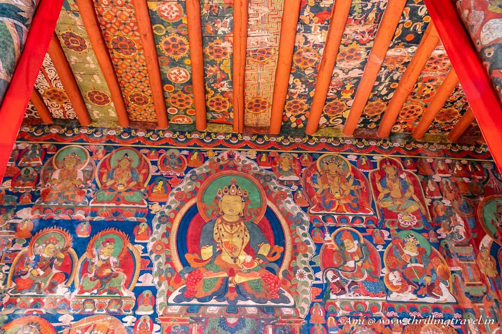 Painted walls and ceiling of Chamba Temple in Basgo