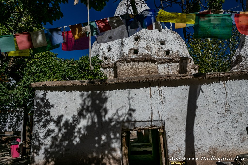 Stupa with tunnels at Alchi Monastery