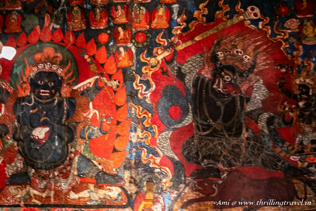Tantric Buddhist Wall art in Chamchung temple, Basgo Monastery