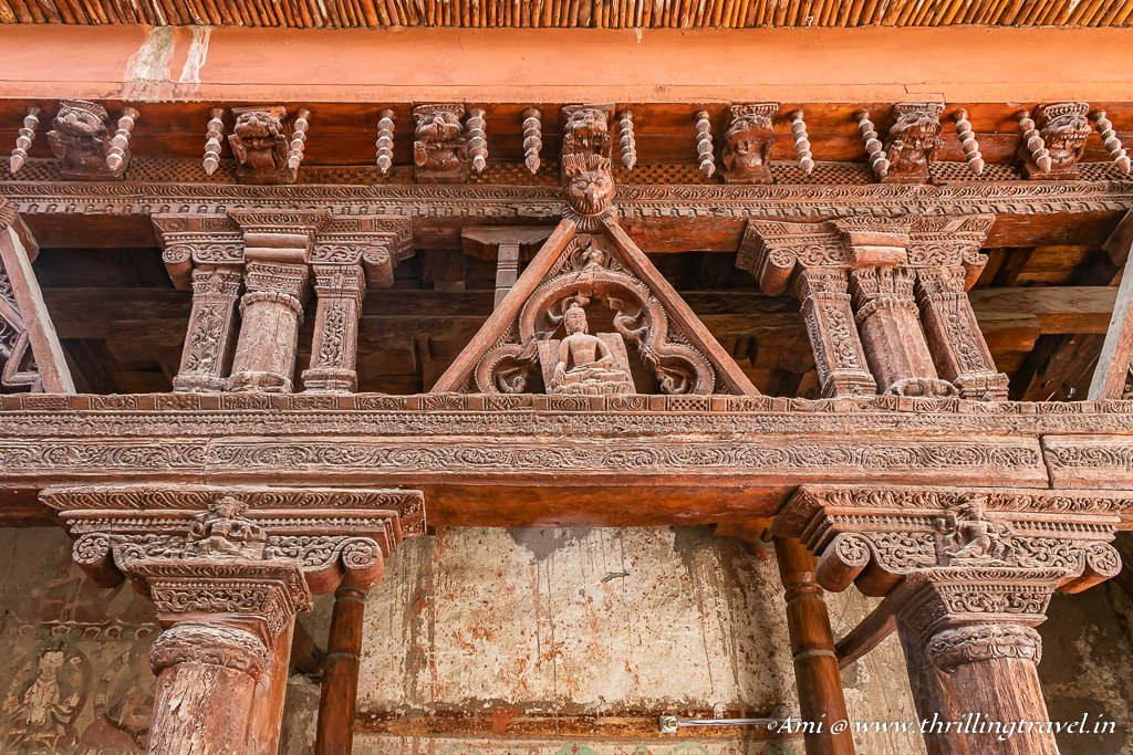 Wood art at Sumtsek Temple -Alchi Monastery-Ladakh