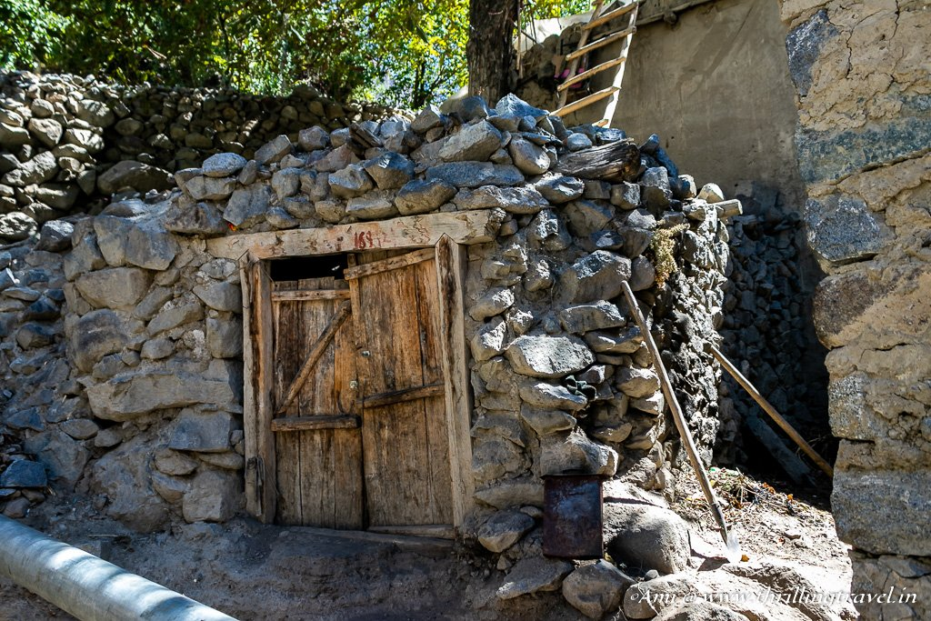 Door to a goat shed in the Aryan Village of Dah