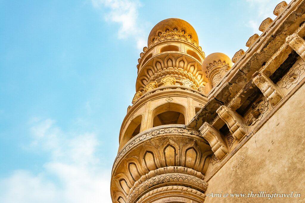 Closeup of the Minaret of Jamia Masjid