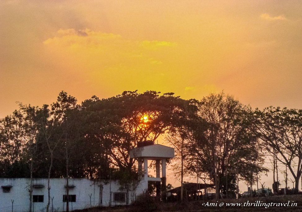 Sunset over a resort in Nagarhole