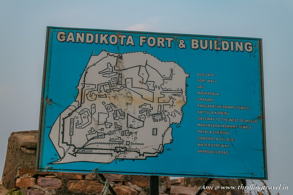 Map of present day Gandikota FortMap of present day Gandikota Fort