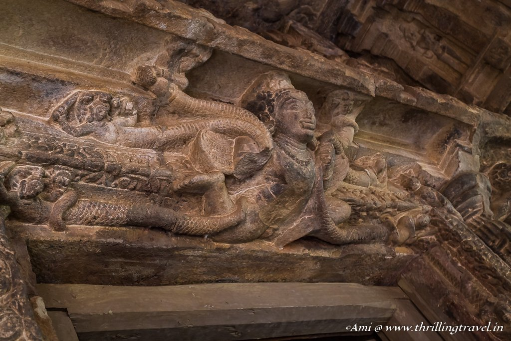 Naga Carving on Lintel of Durga Temple