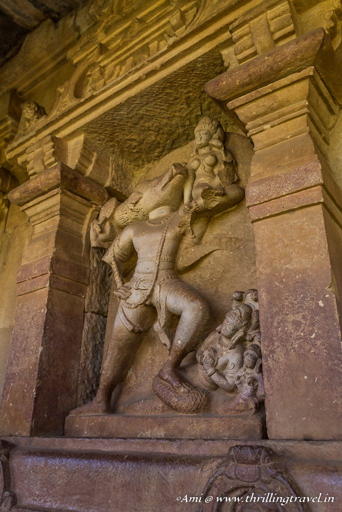 Varaha Carving on the walls of Durga Temple