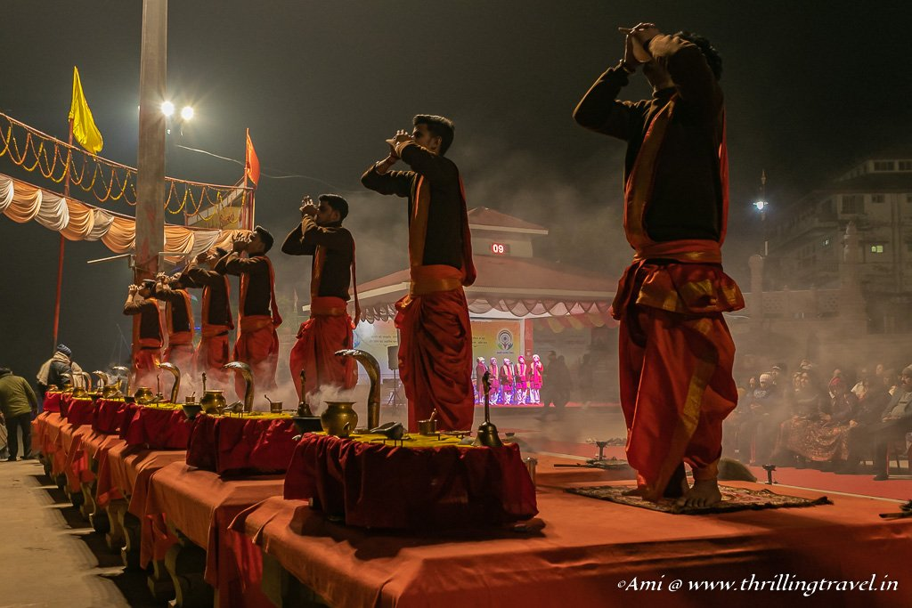 Blowing the Conch Shells during the Aarti