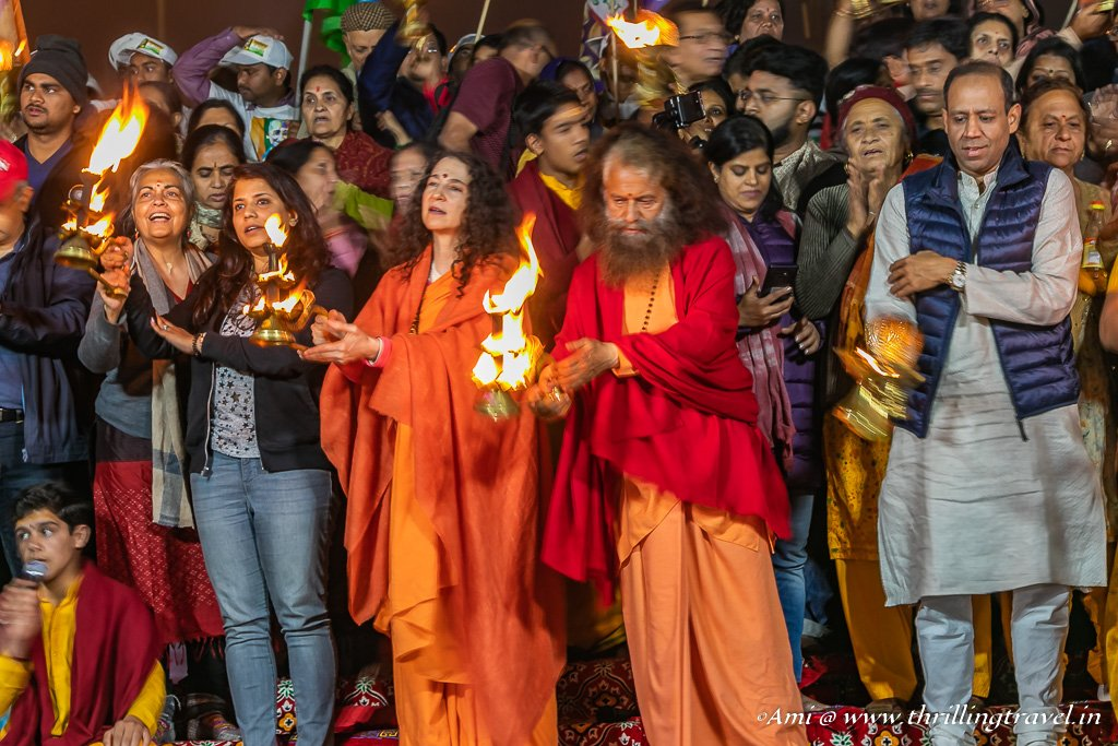 Evening Aarti with Swami Chidanand at the Kumbh Mela