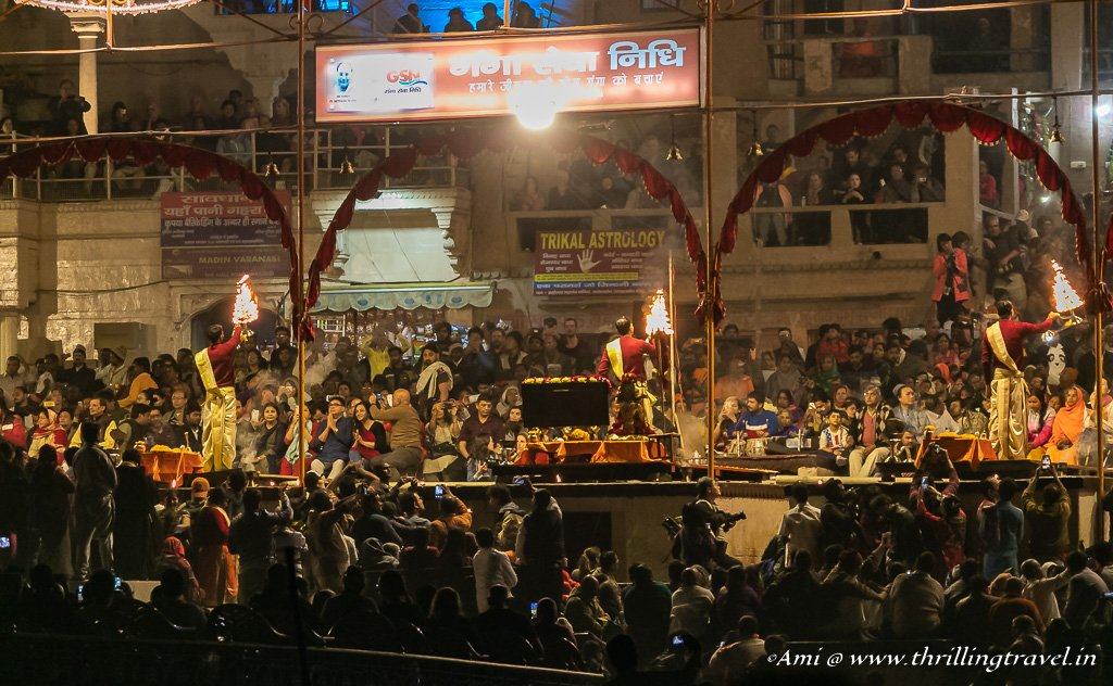 The crowd for the night aarti