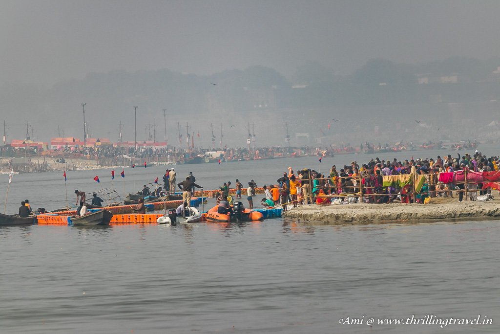 The sacred confluence for the Holy dip at Kumbh Mela