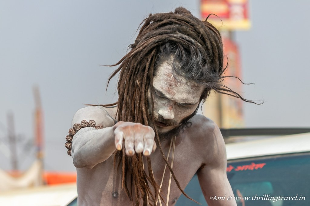 The Ash on the body acts as a second skin for the Naga Sadhus
