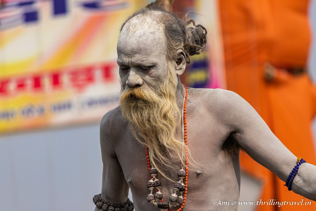 Naga Sadhus are easy to spot in a crowd.
