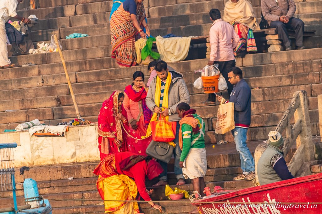 Newly Weds at Varanasi Ghats performing pooja