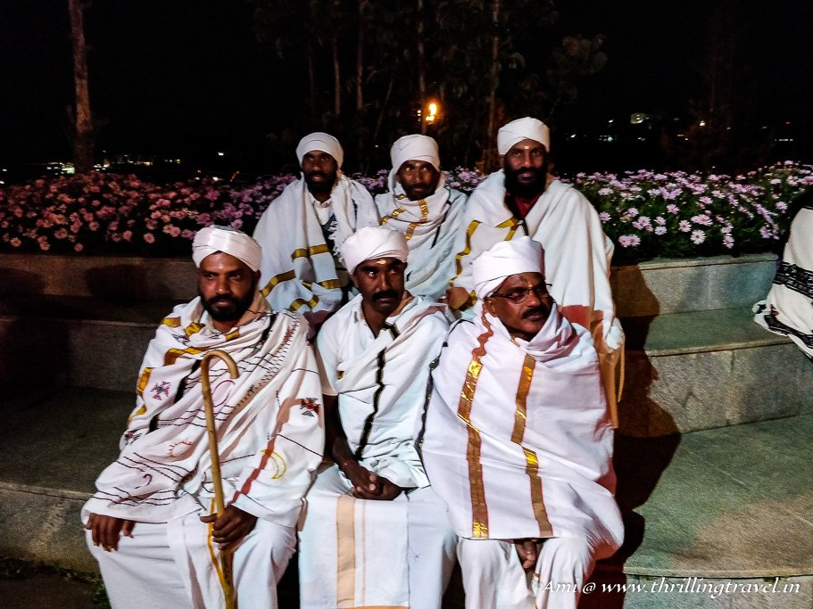 Badaga Tribe in their white attire with turbans. This is how they dress for festivals
