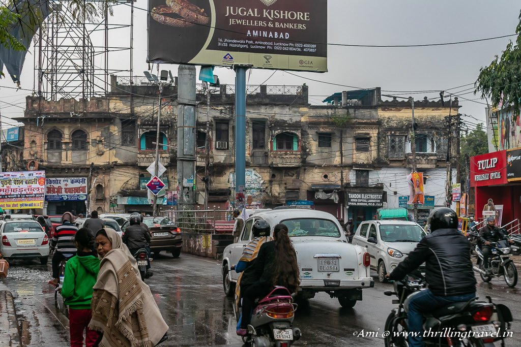 The old homes of the Kaiserbagh era across the busy circle