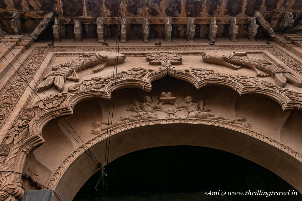 Close up of the mermaids on Lakhi gate