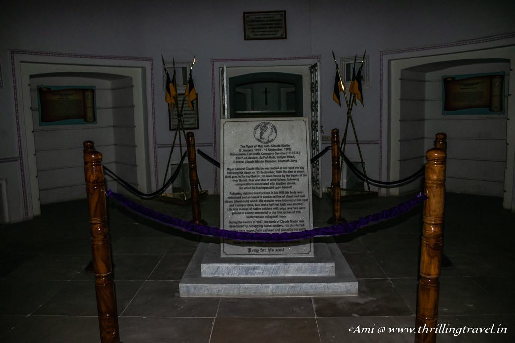 Tomb of Claude Martin in the basement vault of Constantia