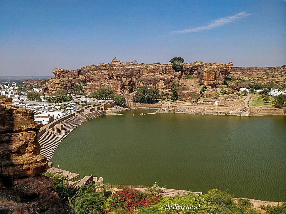 Agastya Lake near Badami Temple Caves