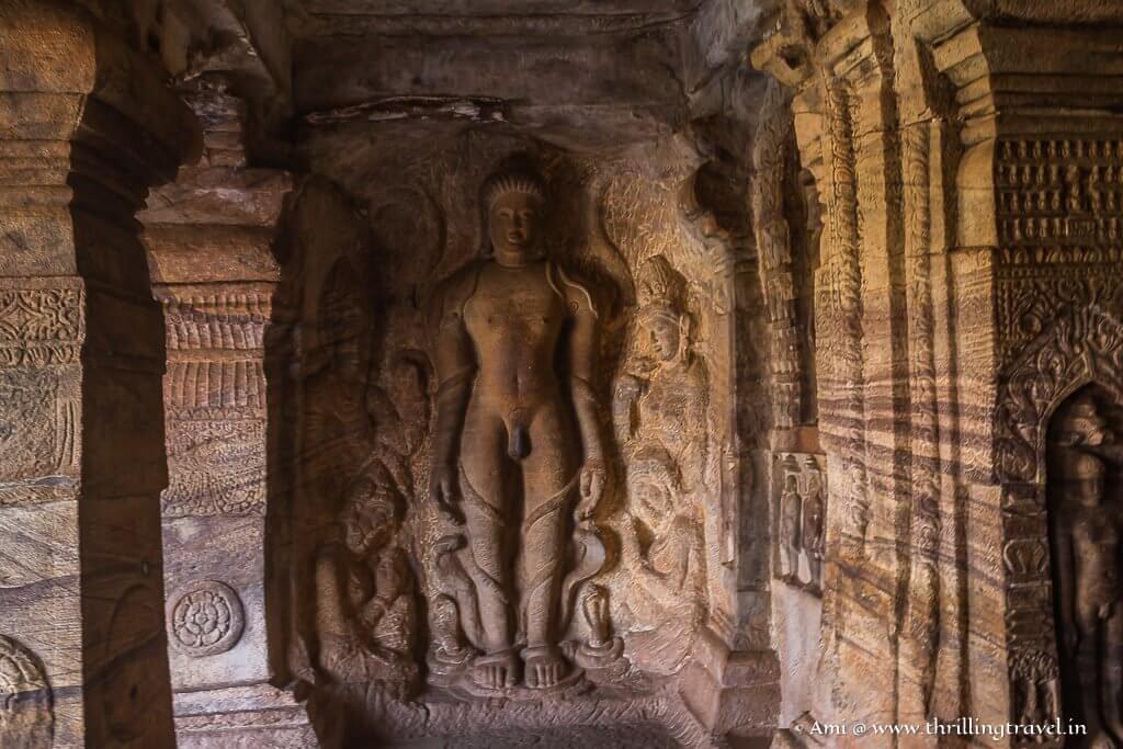 Lord Bahubali in meditation - Cave 4 of Badami