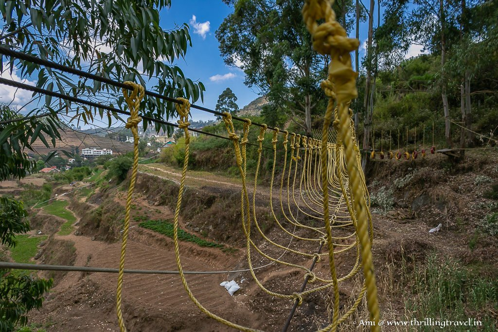 Burma Loops - part of the rope adventure at GRT- Great Trails in Kodaikanal