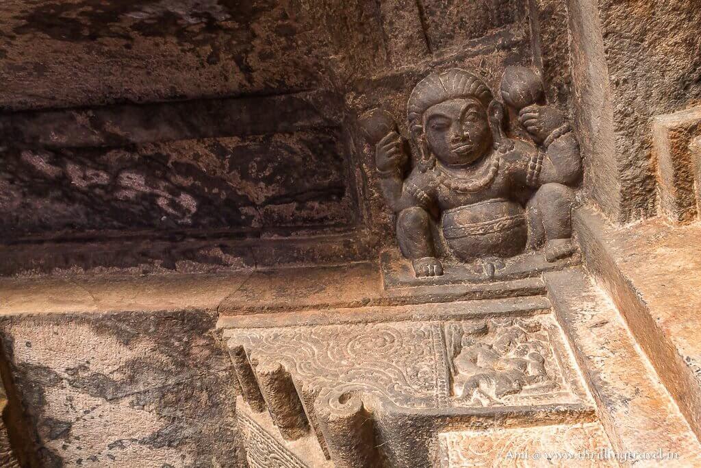 Gana carved on a bracket of Badami Cave