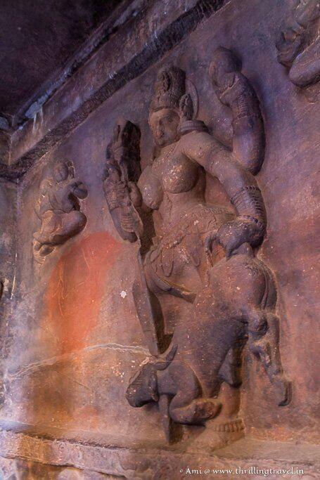 Mahishasurmardini relief in Cave one of Badami Caves
