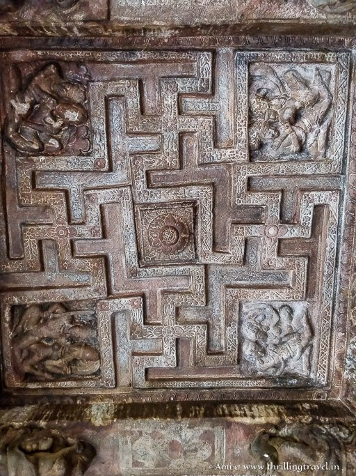 Swastika design on the ceiling of Badami Caves