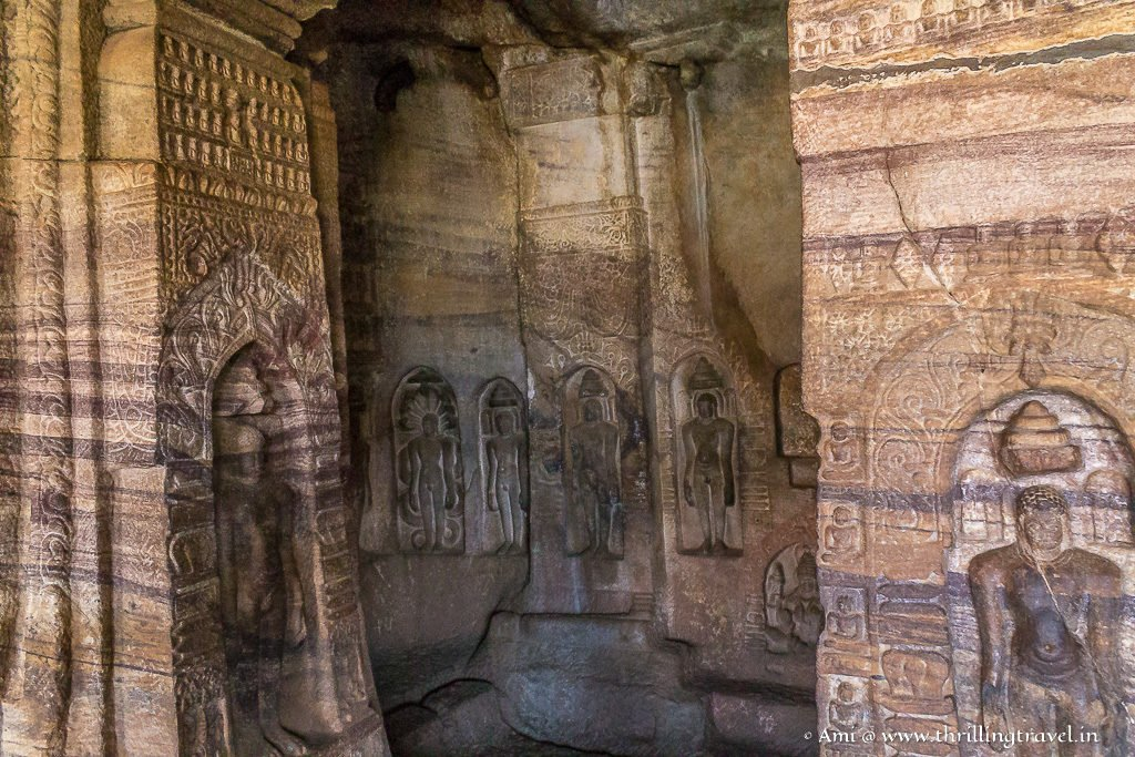 Tirthankaras carved along the walls of Badami Caves