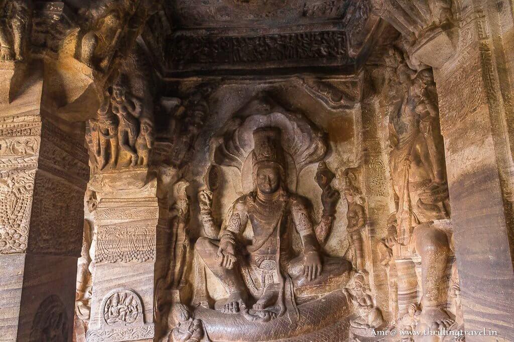 Lord Vishnu sitting on his seat - Sheshnag