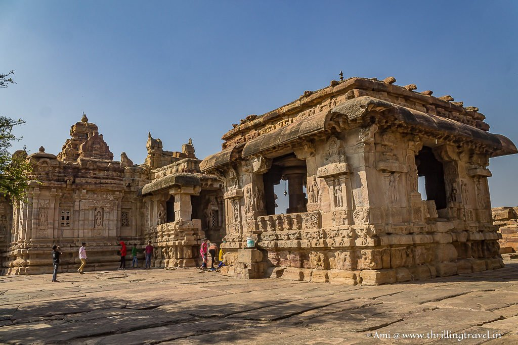 Covered Nandi Mandapam in front of Virupaksha Temple  at the Group of monuments at Pattadakal