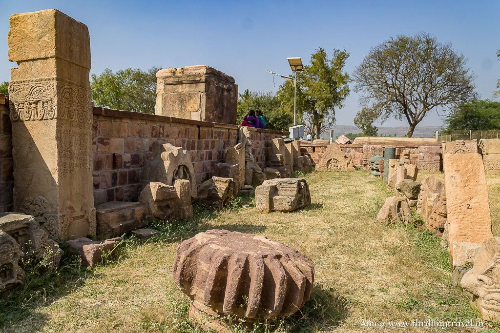 Excavated temple pieces at the site of Group of monuments at Pattadakal