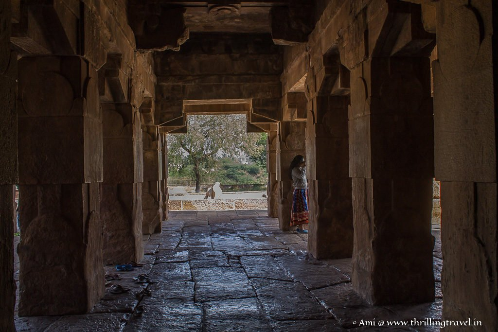 Long passages in one of the Group of monuments in Pattadakal