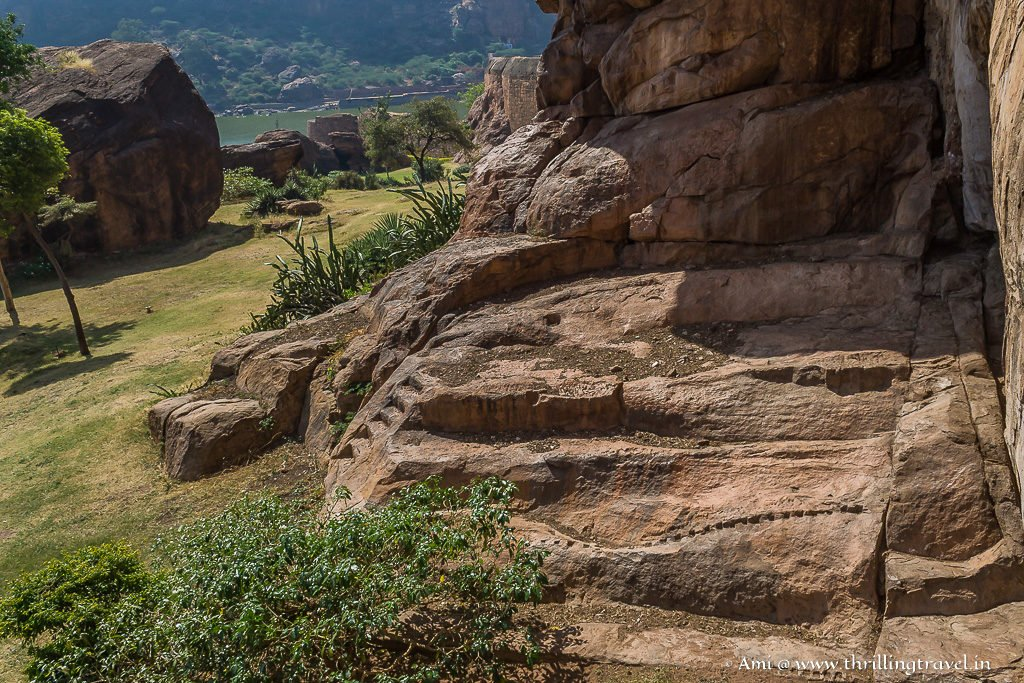 Rock-cut steps of Badami Fort
