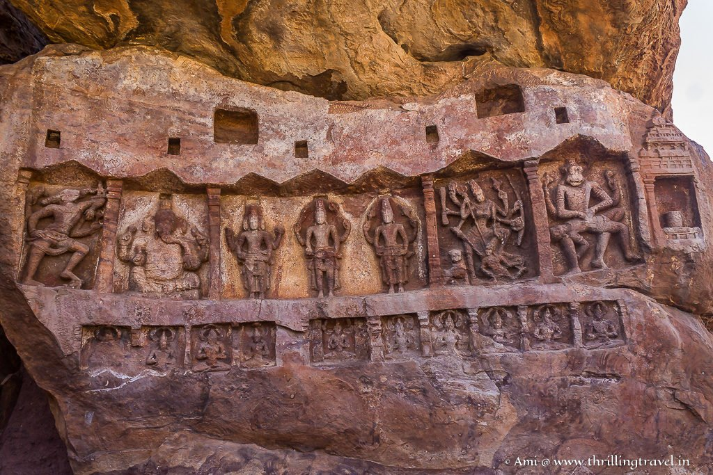 Sculpted boulder behind Bhutanatha Temple in Badami