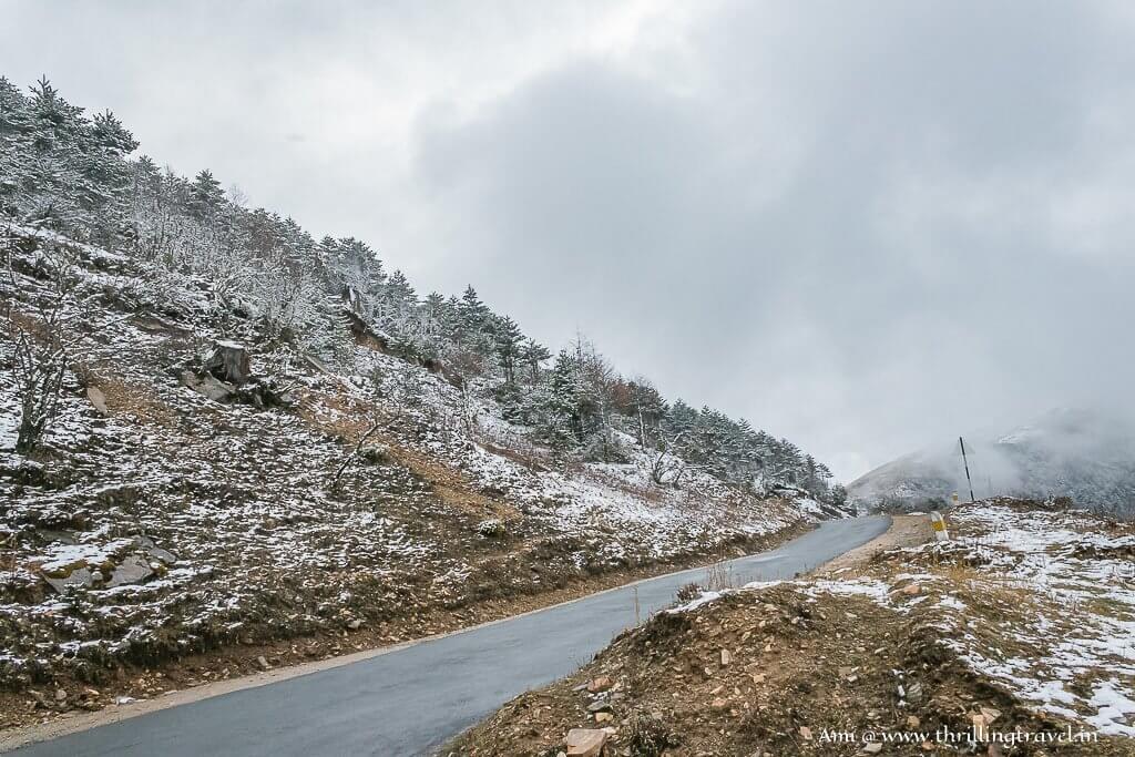 Snow at Chele La Pass in Bhutan