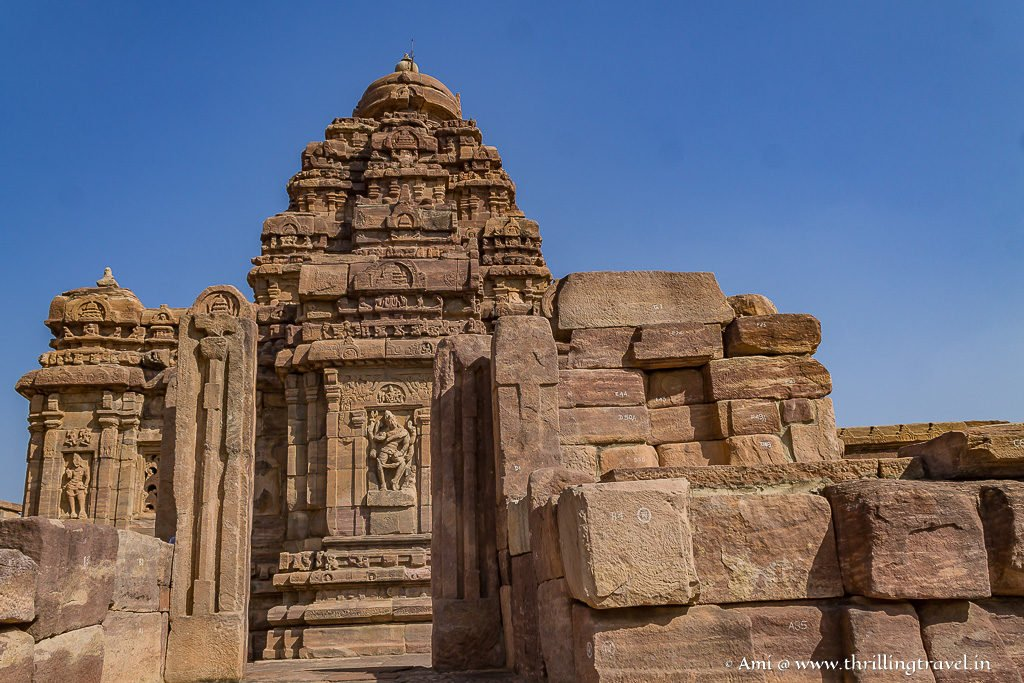 The Western side of the Virupaksha Temple at Pattadakal with its roof