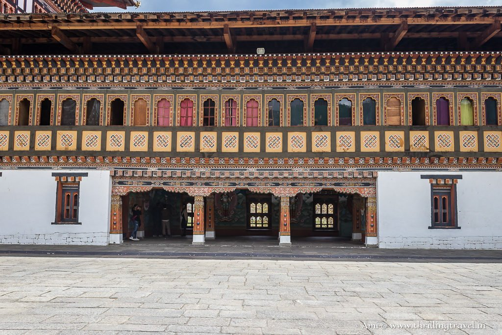 The long line of colored windows of Tashichho Dzong