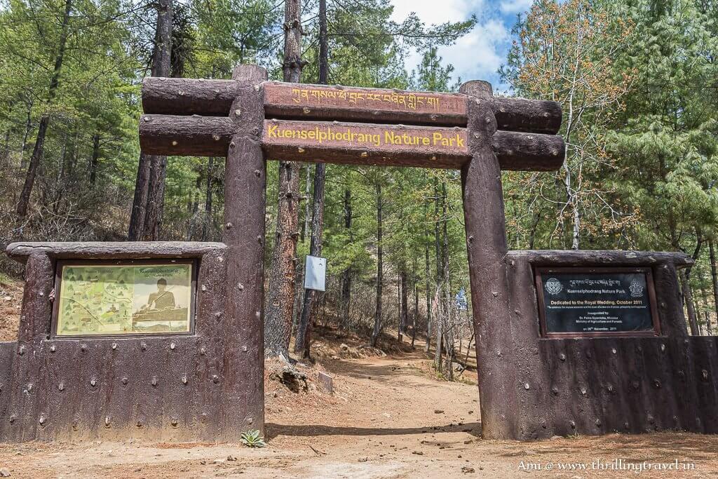 Kuenselphodrang Nature Park Entrance